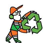 Mascotte Envie tenant le logo du recyclage
